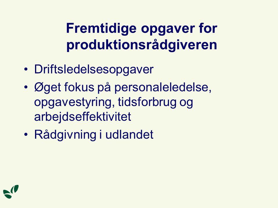 Fremtidige opgaver for produktionsrådgiveren Driftsledelsesopgaver Øget fokus på personaleledelse, opgavestyring, tidsforbrug og arbejdseffektivitet Rådgivning i udlandet