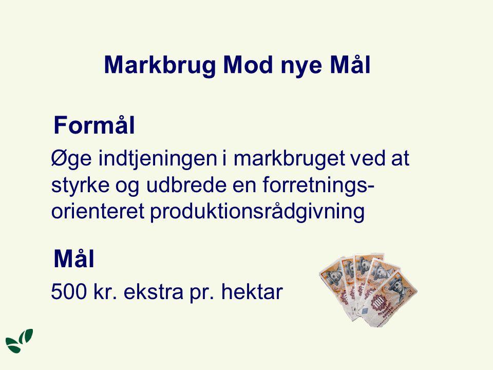 Markbrug Mod nye Mål Formål Øge indtjeningen i markbruget ved at styrke og udbrede en forretnings- orienteret produktionsrådgivning Mål 500 kr.