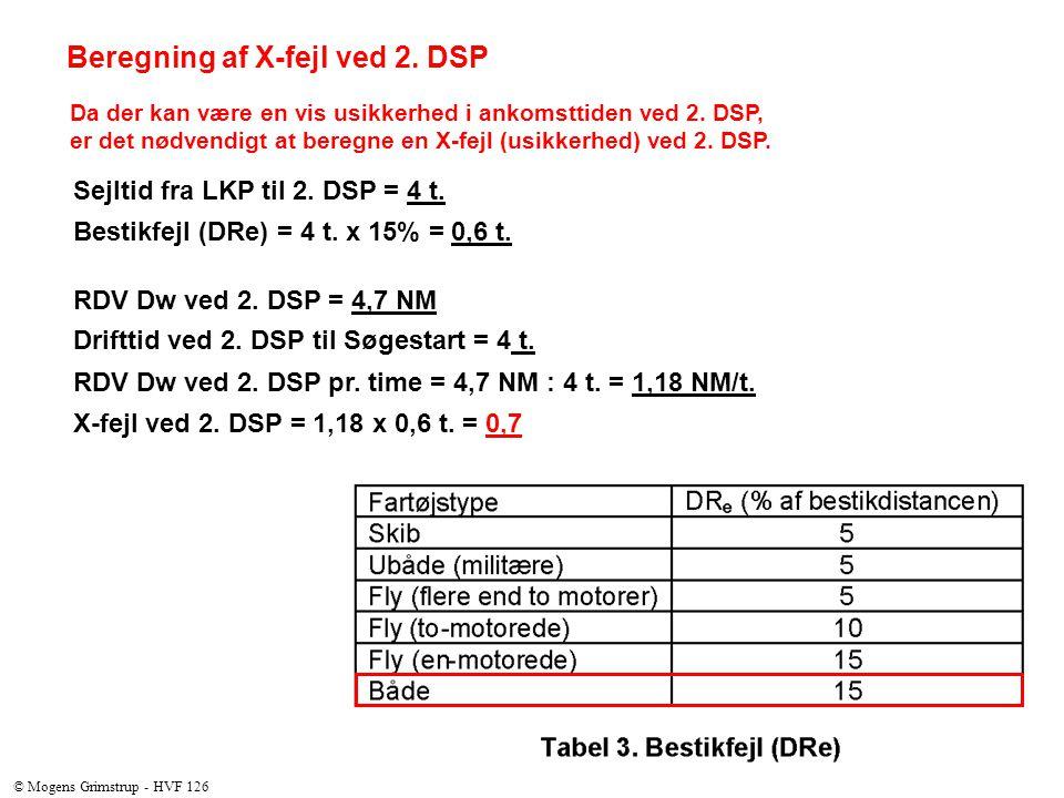 Beregning af X-fejl ved 2. DSP Da der kan være en vis usikkerhed i ankomsttiden ved 2.