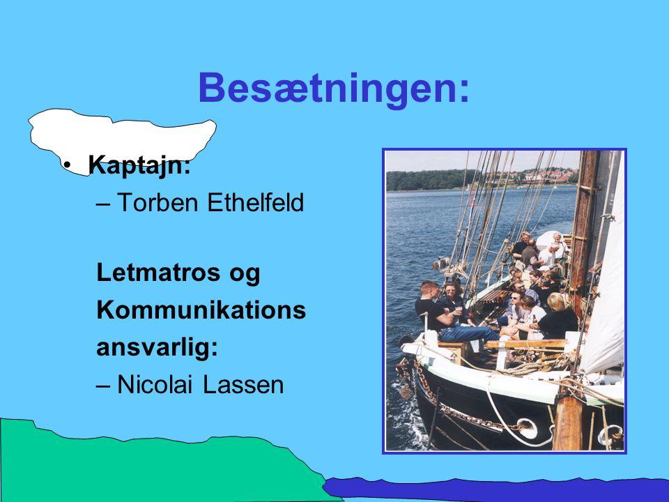 Kaptajn: –Torben Ethelfeld Letmatros og Kommunikations ansvarlig: –Nicolai Lassen Besætningen: