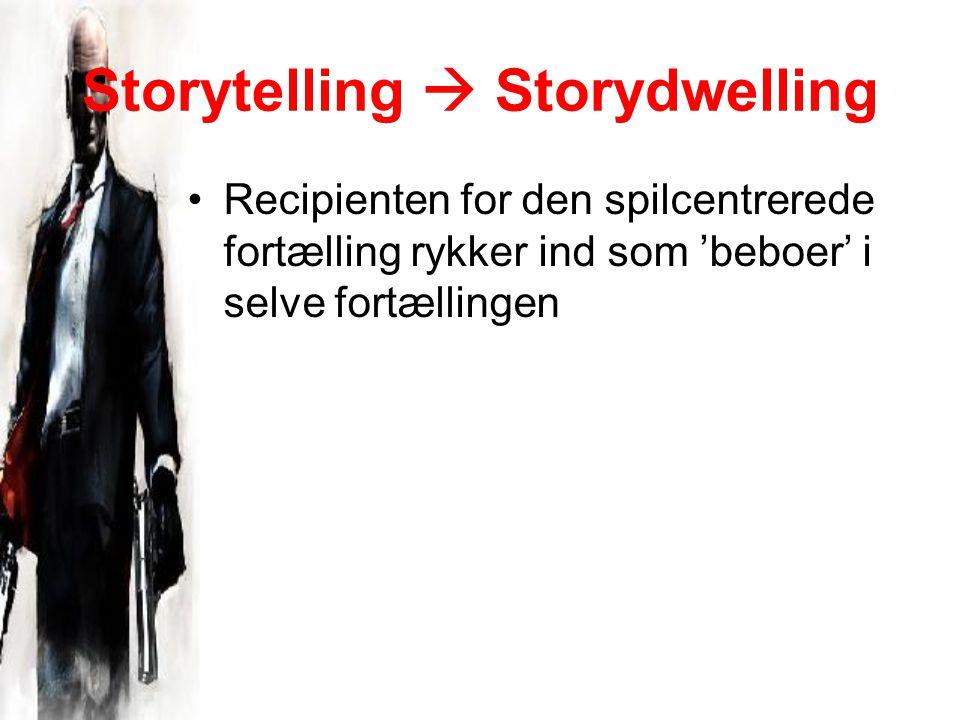 Storytelling  Storydwelling Recipienten for den spilcentrerede fortælling rykker ind som 'beboer' i selve fortællingen