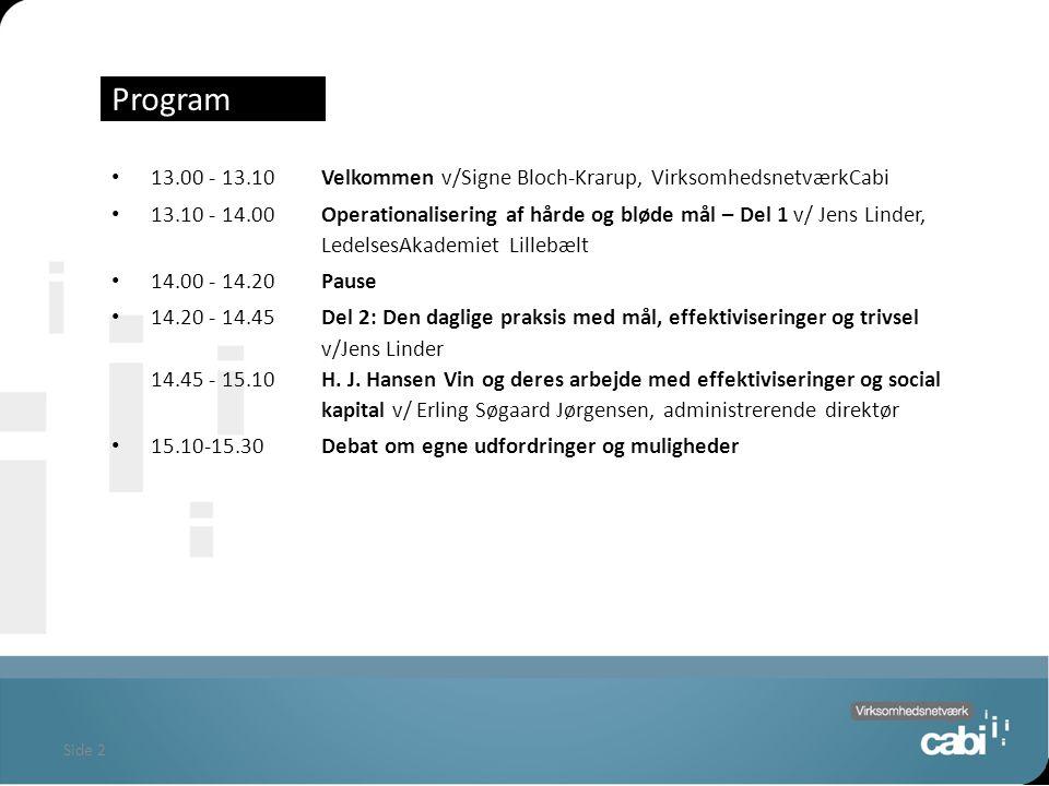 Side 2 Program 13.00 - 13.10Velkommen v/Signe Bloch-Krarup, VirksomhedsnetværkCabi 13.10 - 14.00 Operationalisering af hårde og bløde mål – Del 1 v/ Jens Linder, LedelsesAkademiet Lillebælt 14.00 - 14.20 Pause 14.20 - 14.45Del 2: Den daglige praksis med mål, effektiviseringer og trivsel v/Jens Linder 14.45 - 15.10 H.