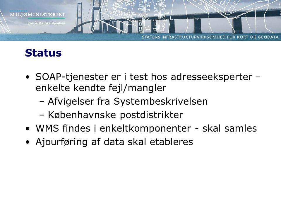 Status SOAP-tjenester er i test hos adresseeksperter – enkelte kendte fejl/mangler –Afvigelser fra Systembeskrivelsen –Københavnske postdistrikter WMS findes i enkeltkomponenter - skal samles Ajourføring af data skal etableres