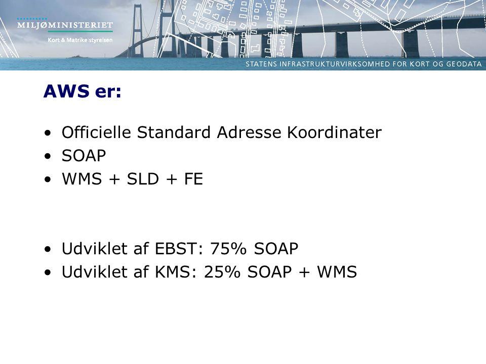 AWS er: Officielle Standard Adresse Koordinater SOAP WMS + SLD + FE Udviklet af EBST: 75% SOAP Udviklet af KMS: 25% SOAP + WMS