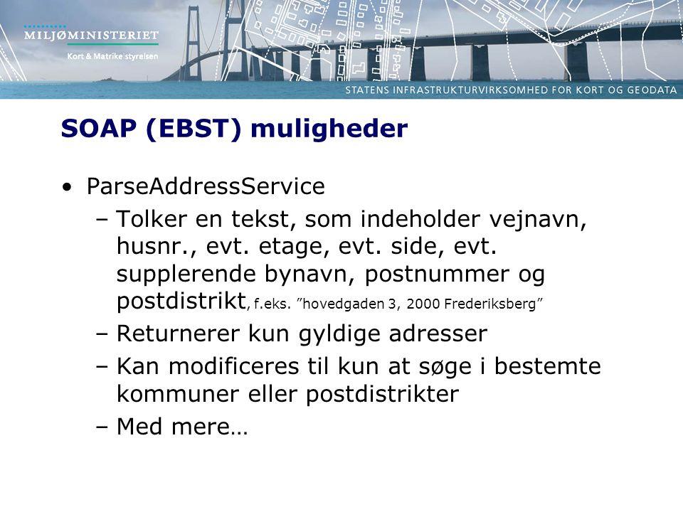 SOAP (EBST) muligheder ParseAddressService –Tolker en tekst, som indeholder vejnavn, husnr., evt.