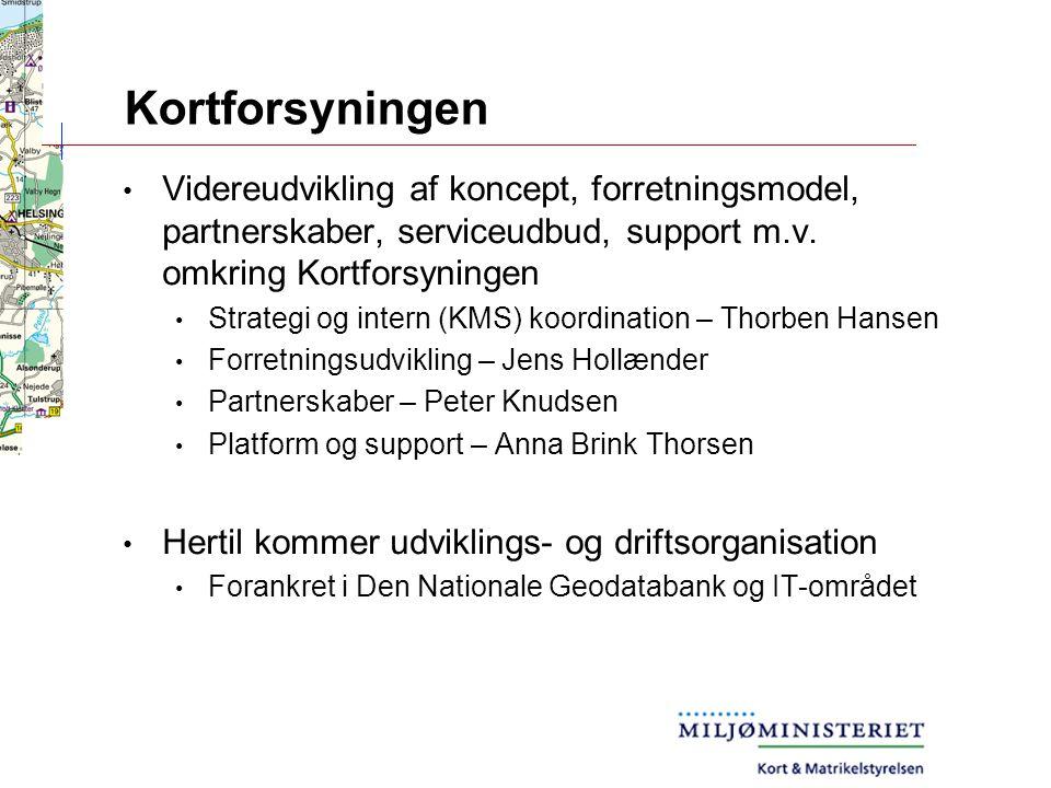 Kortforsyningen Videreudvikling af koncept, forretningsmodel, partnerskaber, serviceudbud, support m.v.
