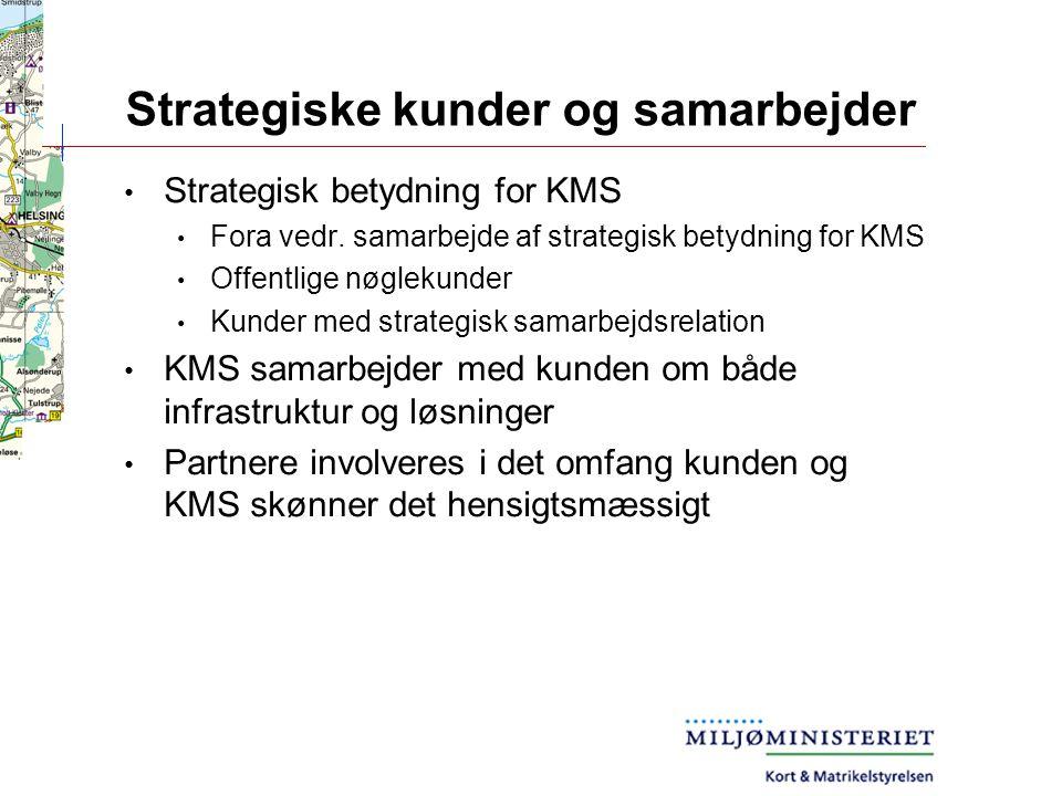 Strategiske kunder og samarbejder Strategisk betydning for KMS Fora vedr.