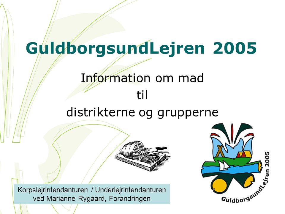 GuldborgsundLejren 2005 Information om mad til distrikterne og grupperne Korpslejrintendanturen / Underlejrintendanturen ved Marianne Rygaard, Forandringen