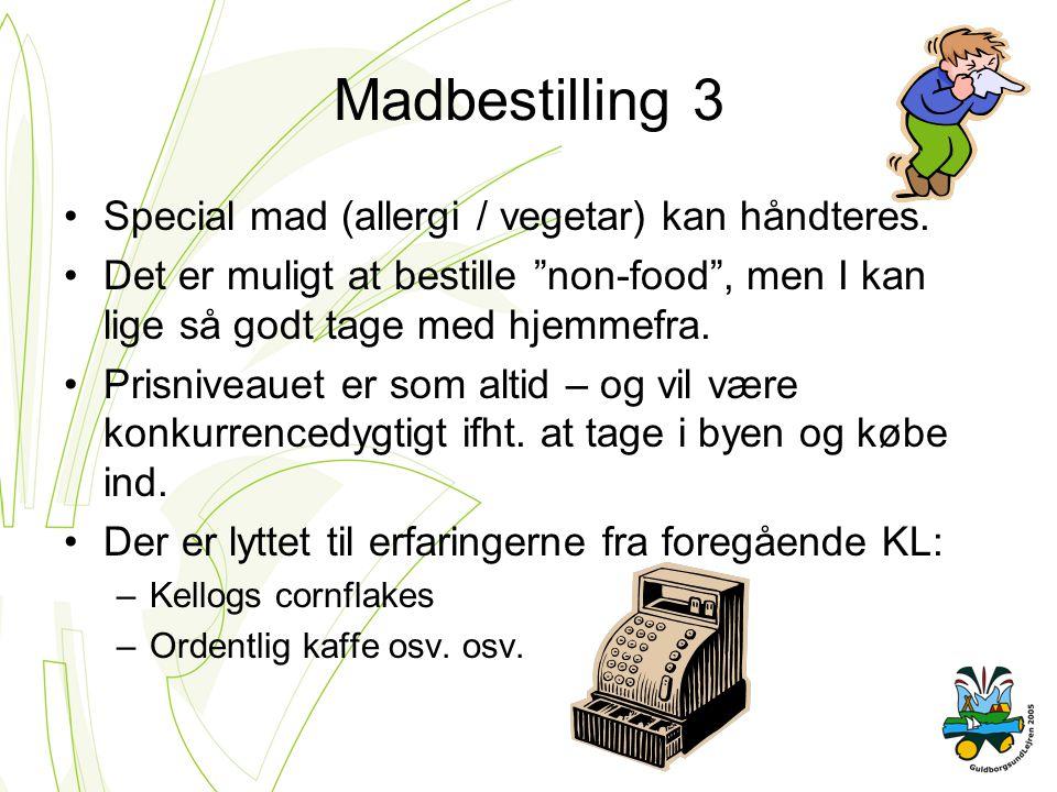 Madbestilling 3 Special mad (allergi / vegetar) kan håndteres.