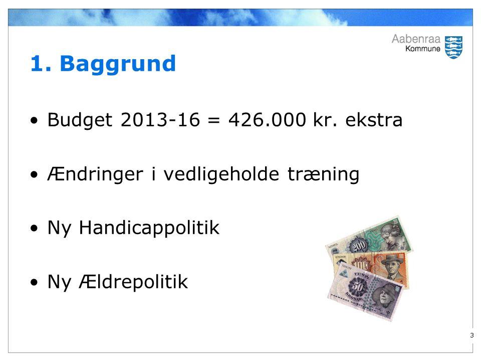 1. Baggrund Budget 2013-16 = 426.000 kr.
