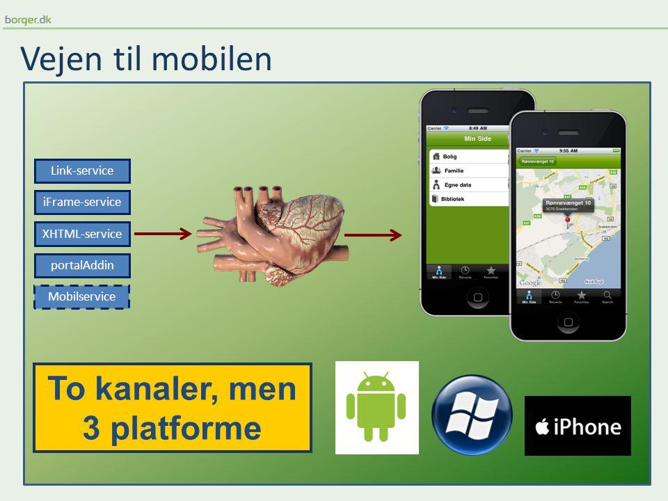 Vejen til mobilen XHTML-service portalAddin Link-service iFrame-service Mobilservice To kanaler, men 3 platforme