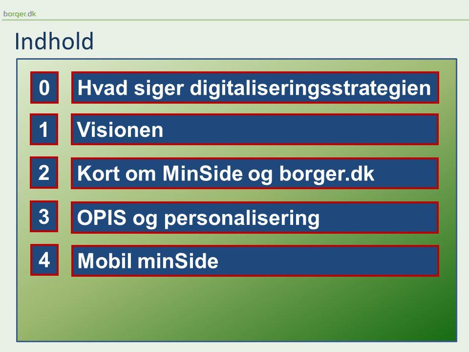 Indhold Visionen Kort om MinSide og borger.dk OPIS og personalisering 1 2 3 Mobil minSide 4 Hvad siger digitaliseringsstrategien0