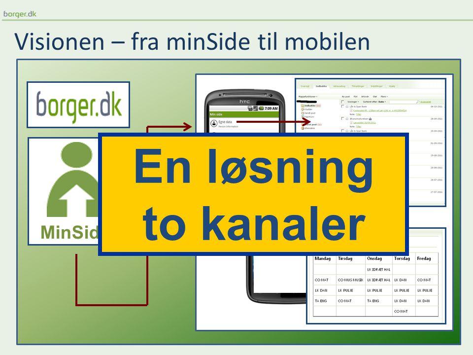 Visionen – fra minSide til mobilen MinSide En løsning to kanaler