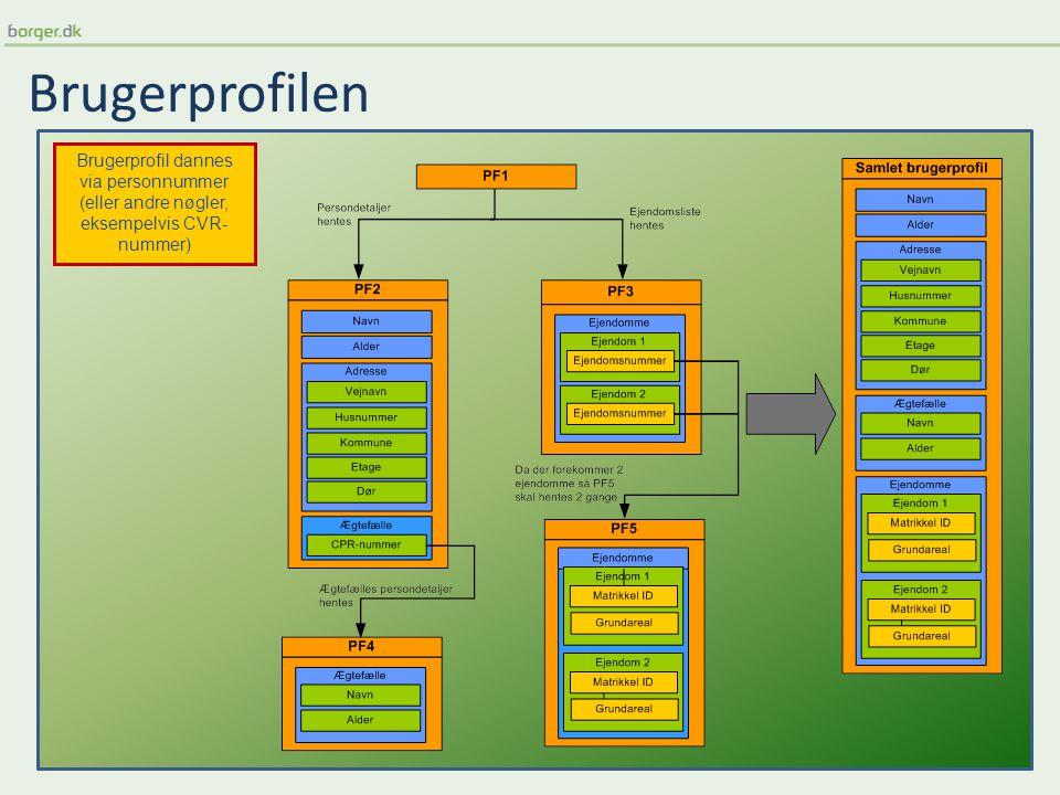 Brugerprofilen Brugerprofil dannes via personnummer (eller andre nøgler, eksempelvis CVR- nummer)
