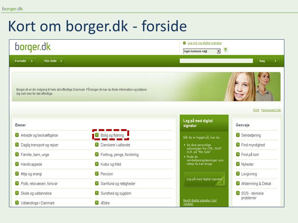 Kort om borger.dk - forside