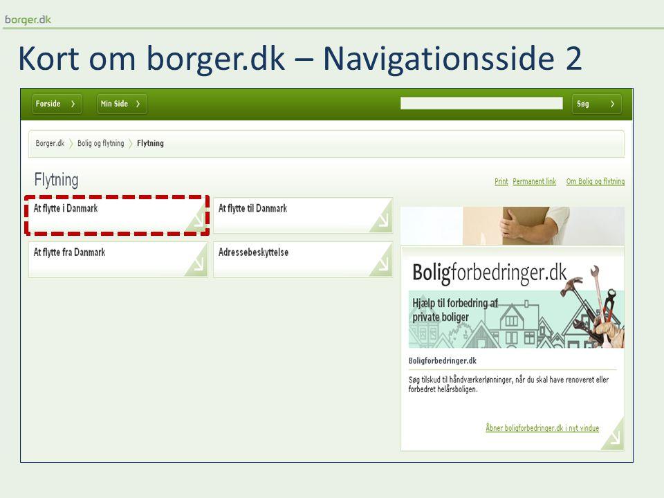 Kort om borger.dk – Navigationsside 2