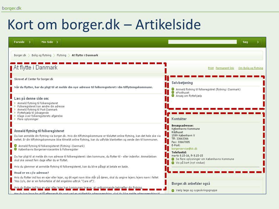 Kort om borger.dk – Artikelside