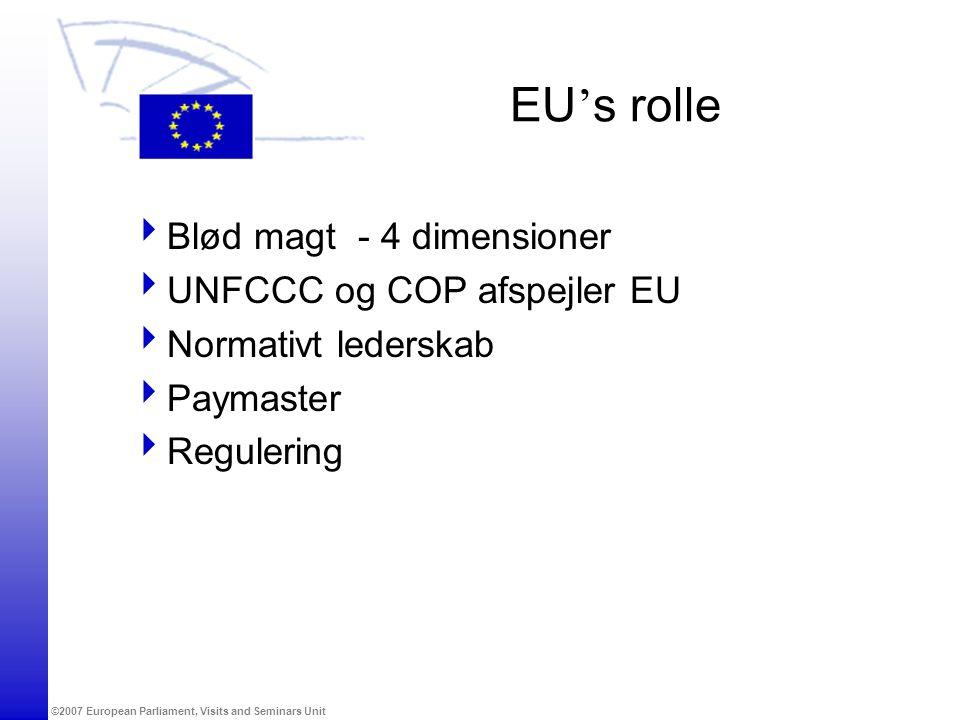 ©2007 European Parliament, Visits and Seminars Unit EU ' s rolle  Blød magt - 4 dimensioner  UNFCCC og COP afspejler EU  Normativt lederskab  Paymaster  Regulering
