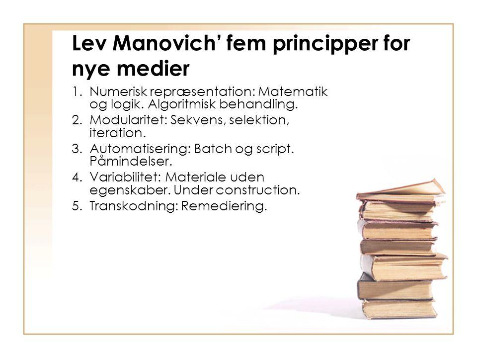 Lev Manovich' fem principper for nye medier 1.Numerisk repræsentation: Matematik og logik.