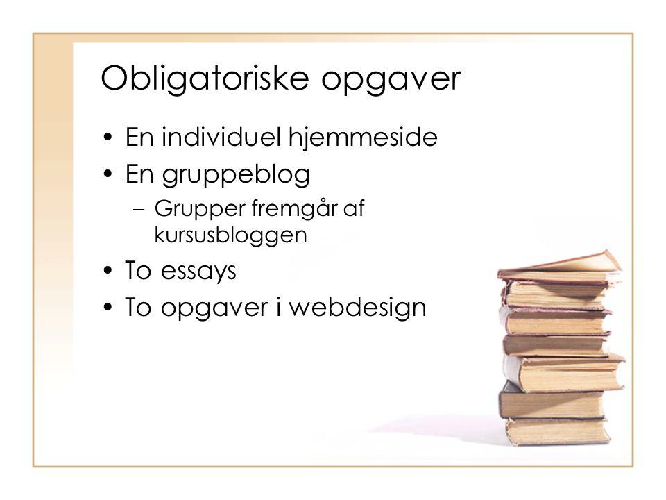 Obligatoriske opgaver En individuel hjemmeside En gruppeblog –Grupper fremgår af kursusbloggen To essays To opgaver i webdesign