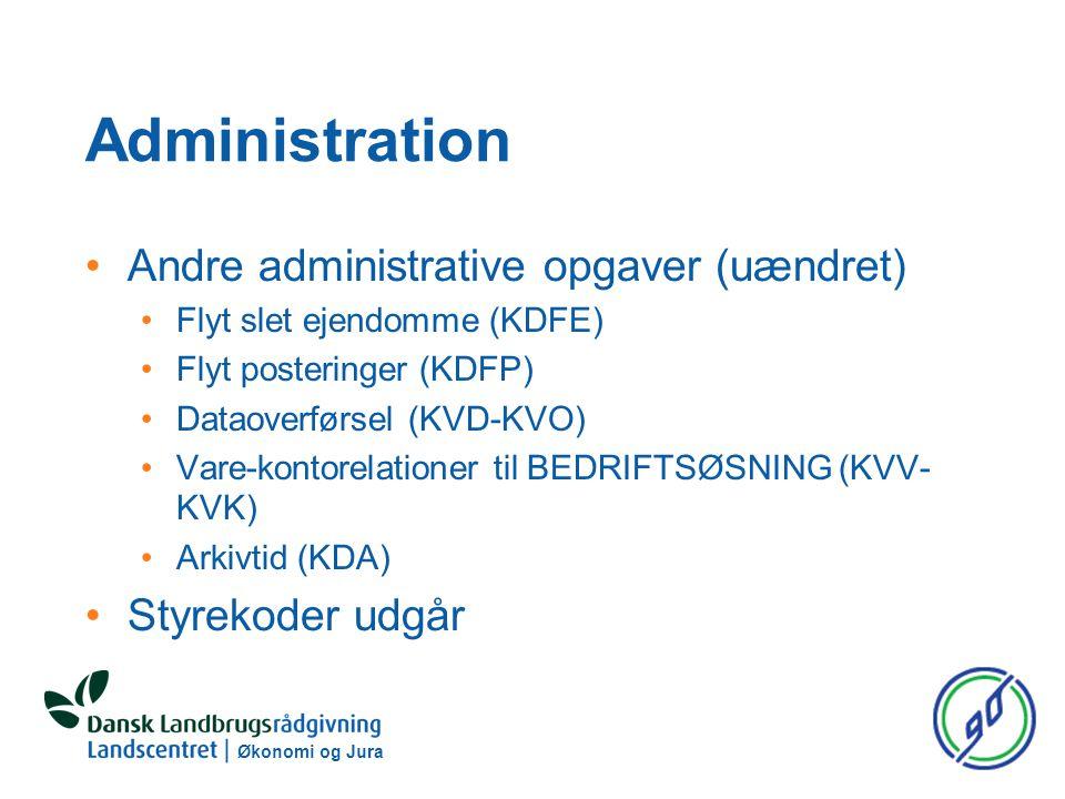 Administration Andre administrative opgaver (uændret) Flyt slet ejendomme (KDFE) Flyt posteringer (KDFP) Dataoverførsel (KVD-KVO) Vare-kontorelationer til BEDRIFTSØSNING (KVV- KVK) Arkivtid (KDA) Styrekoder udgår