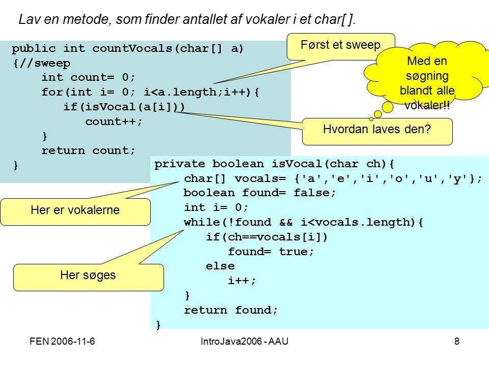 FEN 2006-11-6IntroJava2006 - AAU8 Lav en metode, som finder antallet af vokaler i et char[ ].