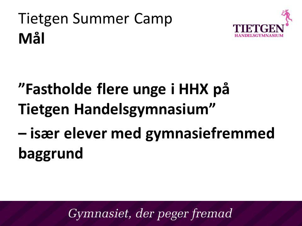 Tietgen Summer Camp Mål Fastholde flere unge i HHX på Tietgen Handelsgymnasium – især elever med gymnasiefremmed baggrund