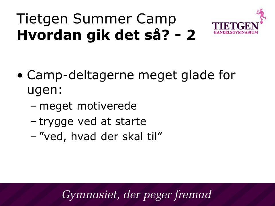 Tietgen Summer Camp Hvordan gik det så.
