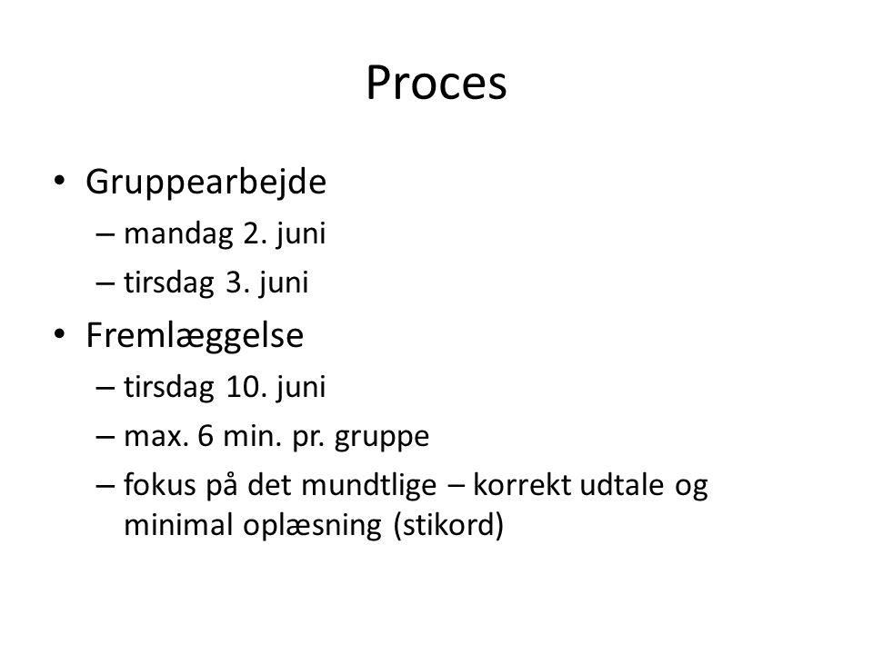Proces Gruppearbejde – mandag 2. juni – tirsdag 3.