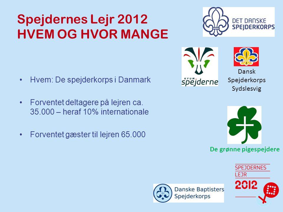 Spejdernes Lejr 2012 HVEM OG HVOR MANGE Hvem: De spejderkorps i Danmark Forventet deltagere på lejren ca.