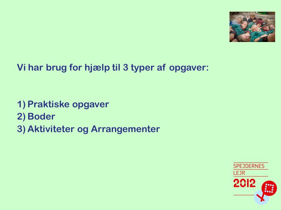 Vi har brug for hjælp til 3 typer af opgaver: 1)Praktiske opgaver 2)Boder 3)Aktiviteter og Arrangementer