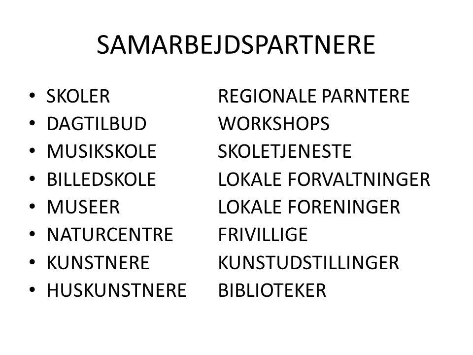SAMARBEJDSPARTNERE SKOLERREGIONALE PARNTERE DAGTILBUDWORKSHOPS MUSIKSKOLESKOLETJENESTE BILLEDSKOLELOKALE FORVALTNINGER MUSEERLOKALE FORENINGER NATURCENTREFRIVILLIGE KUNSTNEREKUNSTUDSTILLINGER HUSKUNSTNEREBIBLIOTEKER