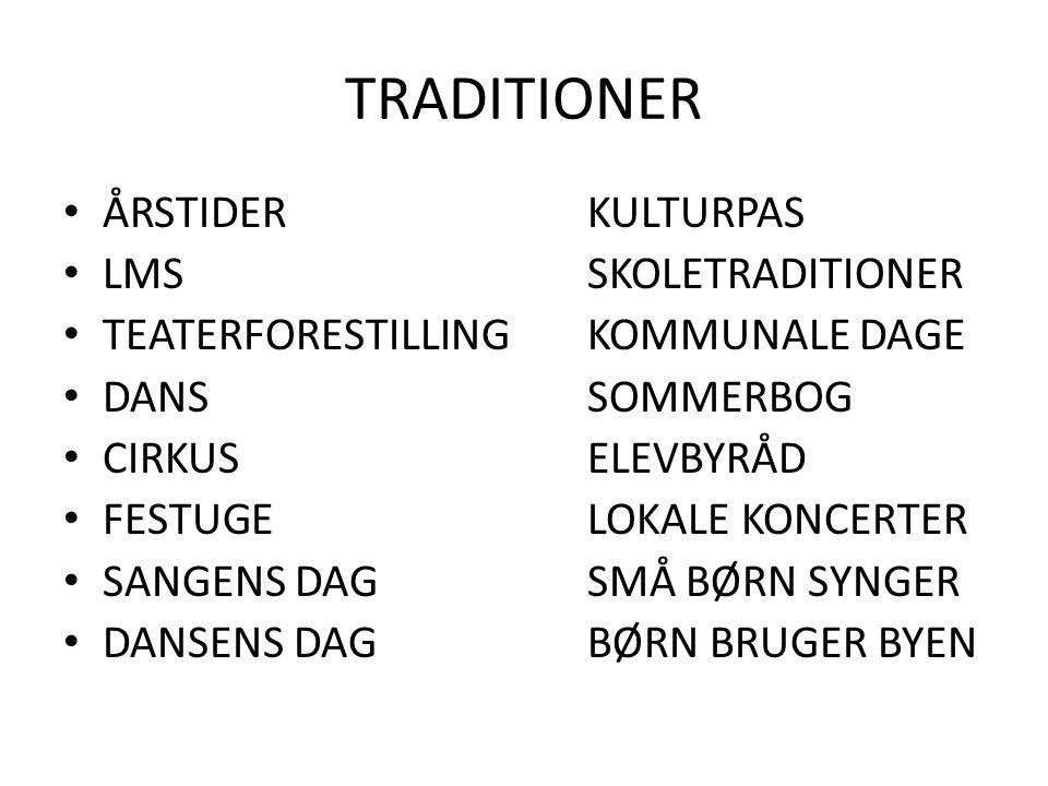 TRADITIONER ÅRSTIDERKULTURPAS LMSSKOLETRADITIONER TEATERFORESTILLINGKOMMUNALE DAGE DANSSOMMERBOG CIRKUSELEVBYRÅD FESTUGELOKALE KONCERTER SANGENS DAGSMÅ BØRN SYNGER DANSENS DAGBØRN BRUGER BYEN
