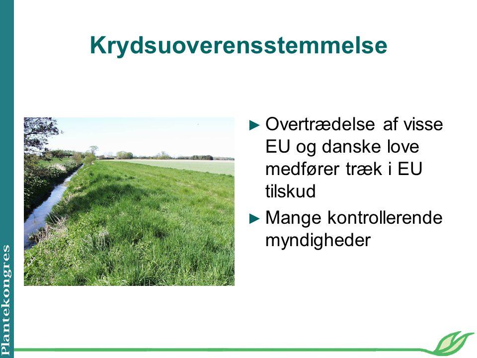 Krydsuoverensstemmelse ► Overtrædelse af visse EU og danske love medfører træk i EU tilskud ► Mange kontrollerende myndigheder