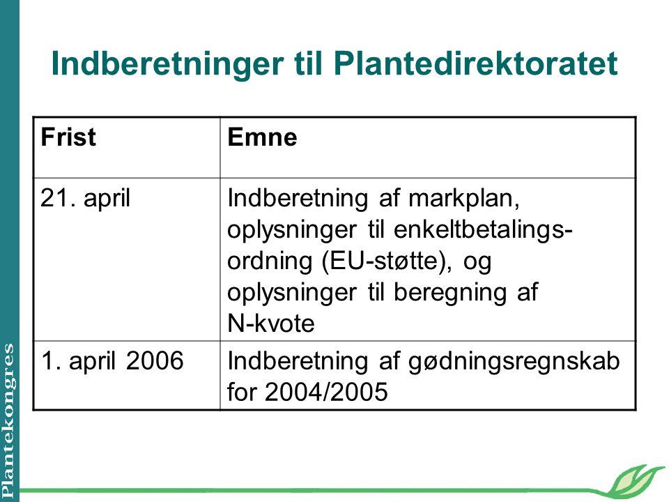 Indberetninger til Plantedirektoratet FristEmne 21.