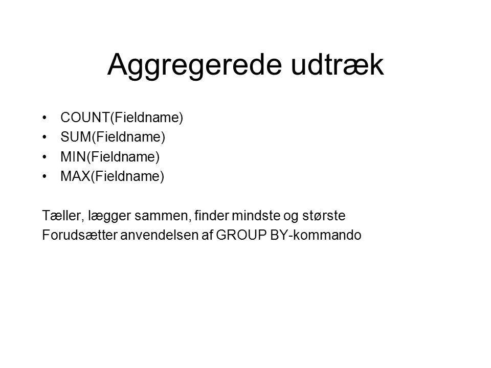 Aggregerede udtræk COUNT(Fieldname) SUM(Fieldname) MIN(Fieldname) MAX(Fieldname) Tæller, lægger sammen, finder mindste og største Forudsætter anvendelsen af GROUP BY-kommando