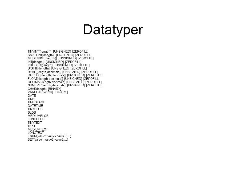 Datatyper TINYINT[(length)] [UNSIGNED] [ZEROFILL] SMALLINT[(length)] [UNSIGNED] [ZEROFILL] MEDIUMINT[(length)] [UNSIGNED] [ZEROFILL] INT[(length)] [UNSIGNED] [ZEROFILL] INTEGER[(length)] [UNSIGNED] [ZEROFILL] BIGINT[(length)] [UNSIGNED] [ZEROFILL] REAL[(length,decimals)] [UNSIGNED] [ZEROFILL] DOUBLE[(length,decimals)] [UNSIGNED] [ZEROFILL] FLOAT[(length,decimals)] [UNSIGNED] [ZEROFILL] DECIMAL(length,decimals) [UNSIGNED] [ZEROFILL] NUMERIC(length,decimals) [UNSIGNED] [ZEROFILL] CHAR(length) [BINARY] VARCHAR(length) [BINARY] DATE TIME TIMESTAMP DATETIME TINYBLOB BLOB MEDIUMBLOB LONGBLOB TINYTEXT TEXT MEDIUMTEXT LONGTEXT ENUM(value1,value2,value3,...) SET(value1,value2,value3,...)