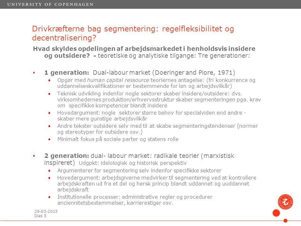 29-03-2015 Dias 5 Drivkræfterne bag segmentering: regelfleksibilitet og decentralisering.