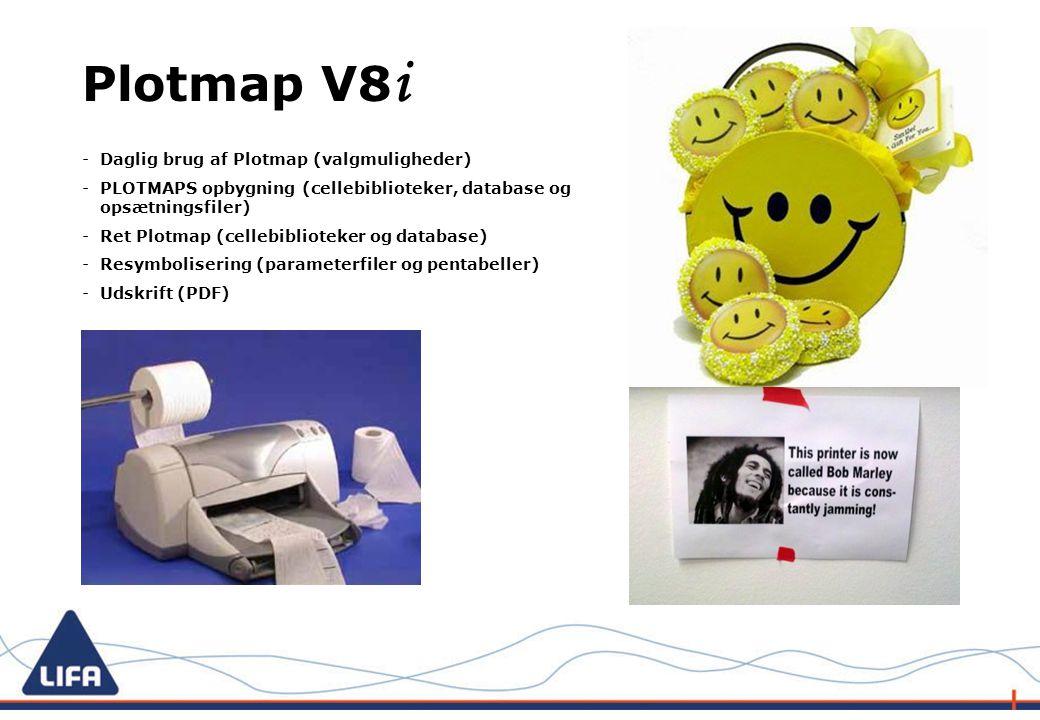 -Daglig brug af Plotmap (valgmuligheder) -PLOTMAPS opbygning (cellebiblioteker, database og opsætningsfiler) -Ret Plotmap (cellebiblioteker og database) -Resymbolisering (parameterfiler og pentabeller) -Udskrift (PDF) Plotmap V8 i