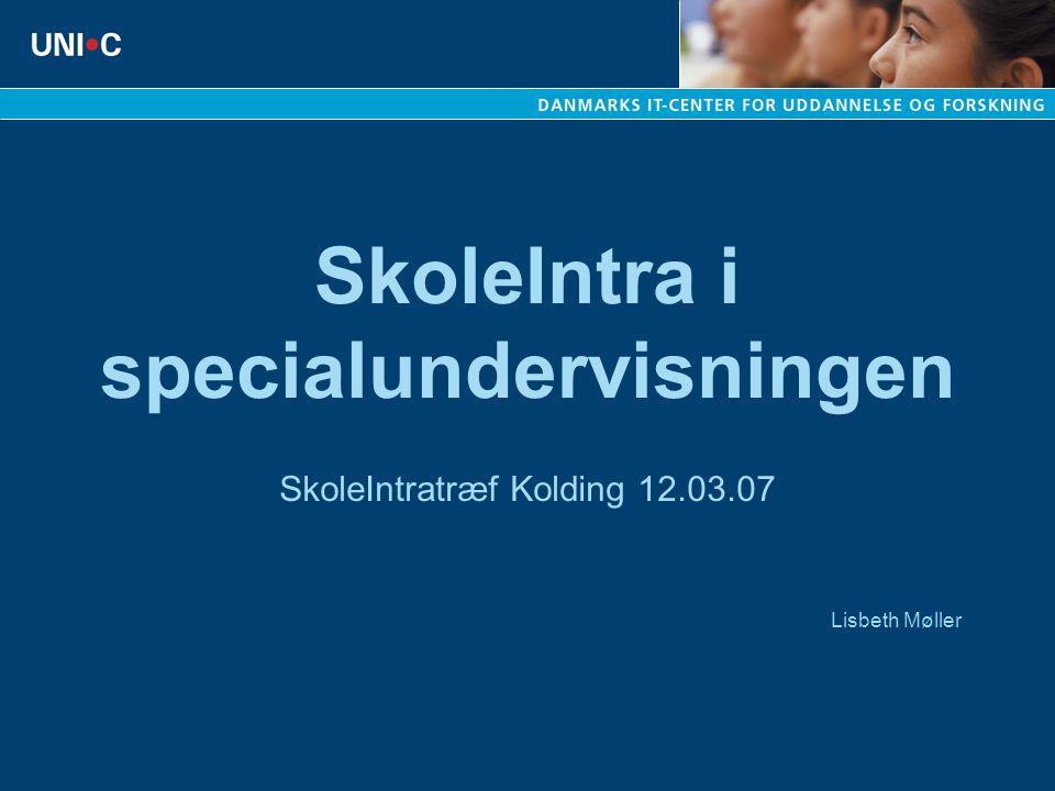 SkoleIntratræf Kolding 12.03.07 Lisbeth Møller SkoleIntra i specialundervisningen
