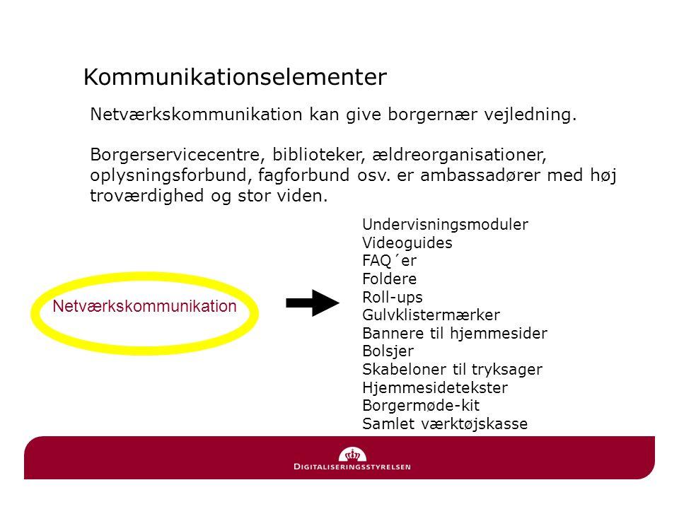 Kommunikationselementer Netværkskommunikation Borger Netværkskommunikation kan give borgernær vejledning.
