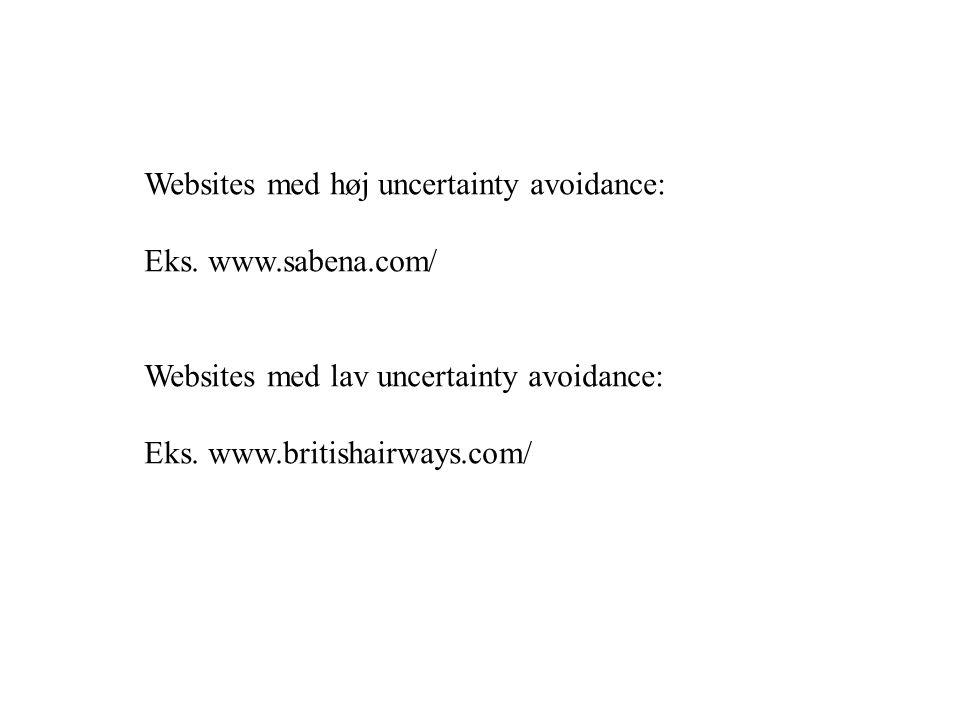 Websites med høj uncertainty avoidance: Eks.