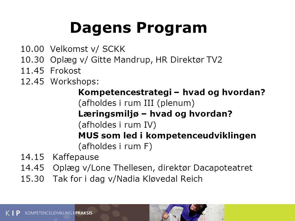 Dagens Program 10.00 Velkomst v/ SCKK 10.30 Oplæg v/ Gitte Mandrup, HR Direktør TV2 11.45 Frokost 12.45 Workshops: Kompetencestrategi – hvad og hvordan.