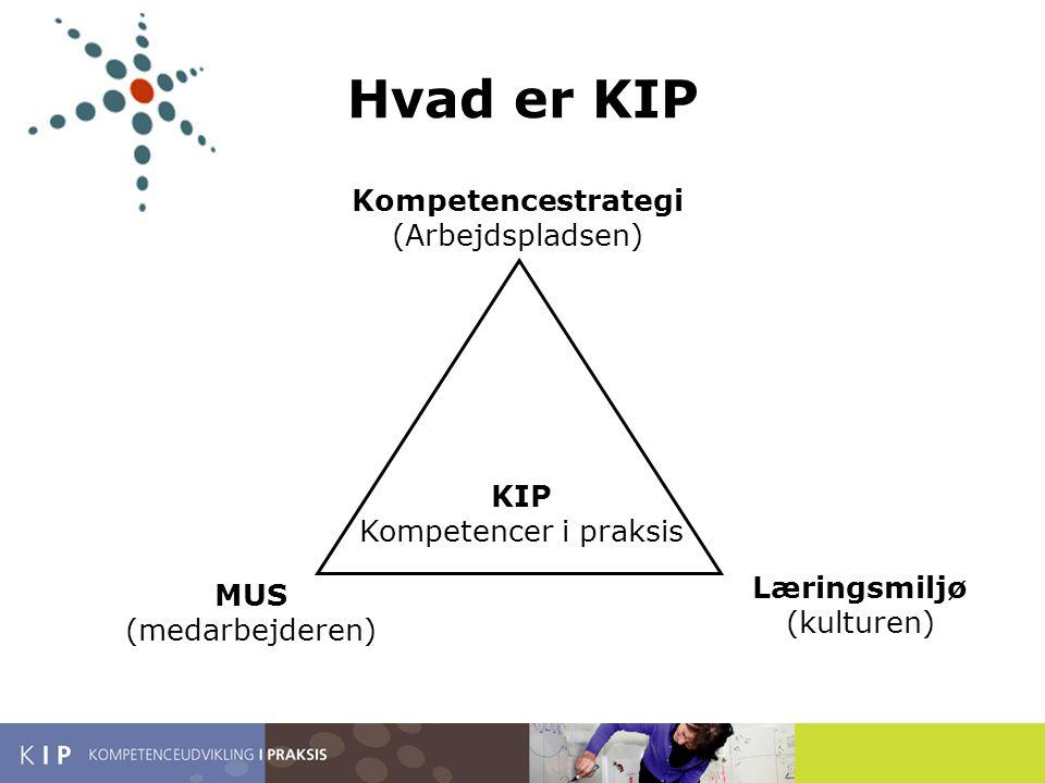 Hvad er KIP Kompetencestrategi (Arbejdspladsen) KIP Kompetencer i praksis MUS (medarbejderen) Læringsmiljø (kulturen)