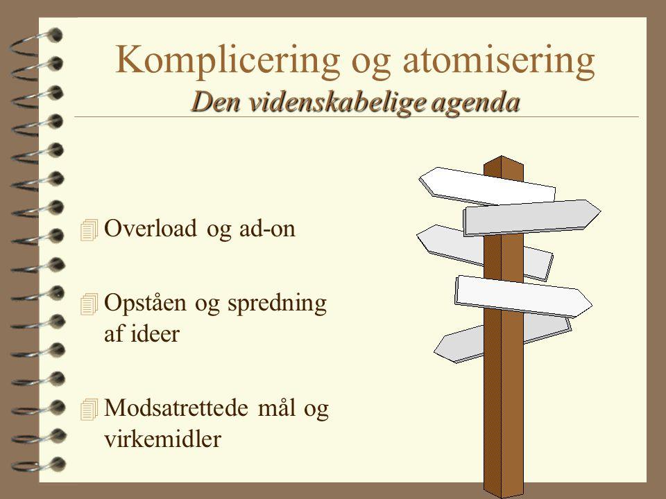 Den videnskabelige agenda Komplicering og atomisering Den videnskabelige agenda 4 Overload og ad-on 4 Opståen og spredning af ideer 4 Modsatrettede mål og virkemidler