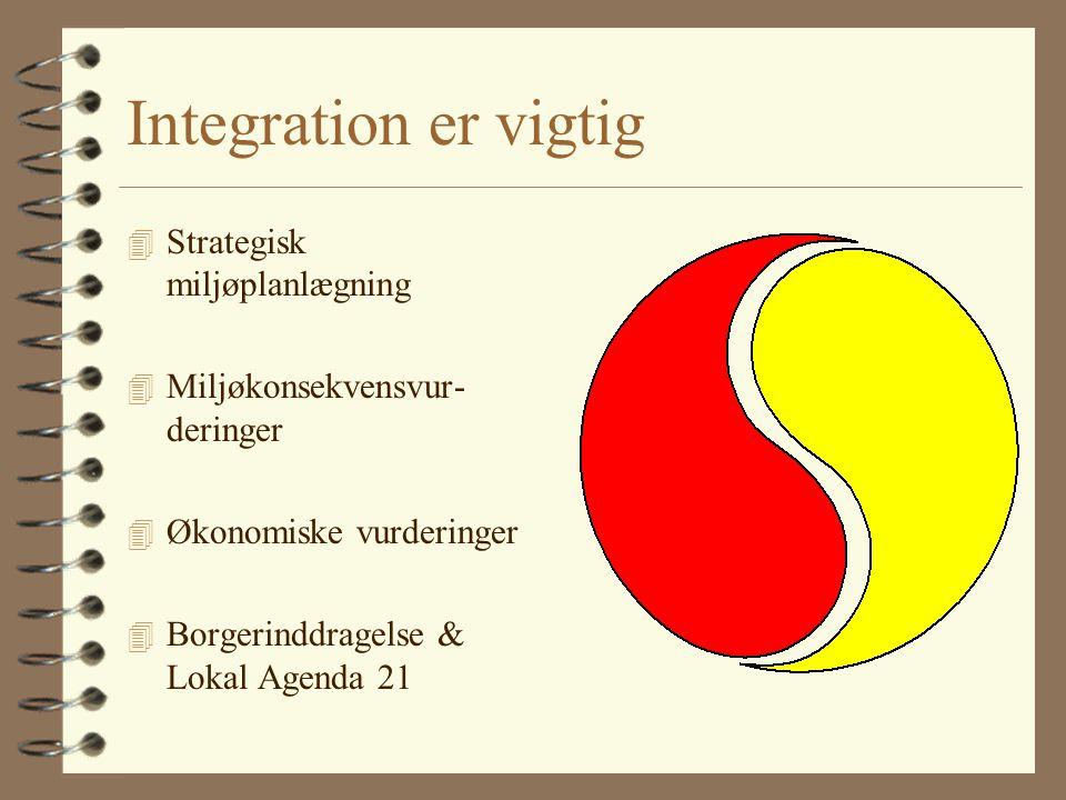 Integration er vigtig 4 Strategisk miljøplanlægning 4 Miljøkonsekvensvur- deringer 4 Økonomiske vurderinger 4 Borgerinddragelse & Lokal Agenda 21