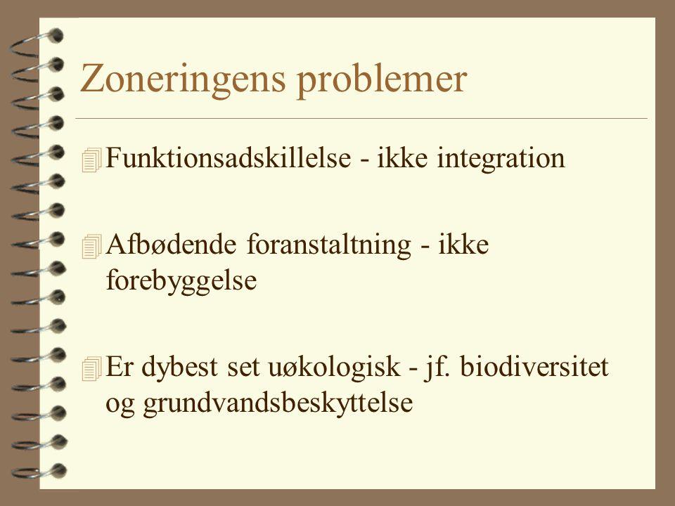 Zoneringens problemer 4 Funktionsadskillelse - ikke integration 4 Afbødende foranstaltning - ikke forebyggelse 4 Er dybest set uøkologisk - jf.