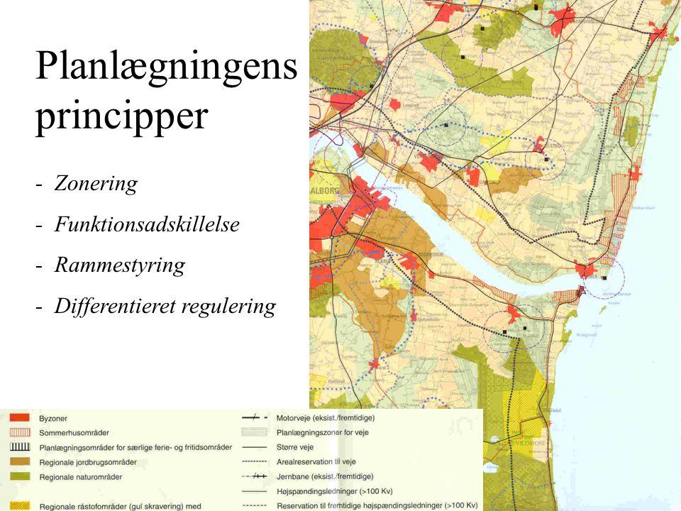 Planlægningens principper - Zonering - Funktionsadskillelse - Rammestyring - Differentieret regulering