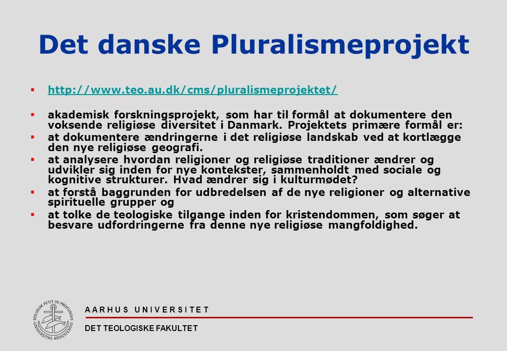 A A R H U S U N I V E R S I T E T DET TEOLOGISKE FAKULTET Det danske Pluralismeprojekt  http://www.teo.au.dk/cms/pluralismeprojektet/ http://www.teo.au.dk/cms/pluralismeprojektet/  akademisk forskningsprojekt, som har til formål at dokumentere den voksende religiøse diversitet i Danmark.