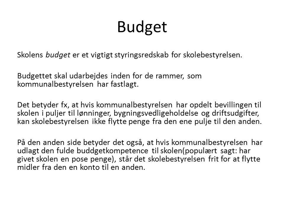 Budget Skolens budget er et vigtigt styringsredskab for skolebestyrelsen.